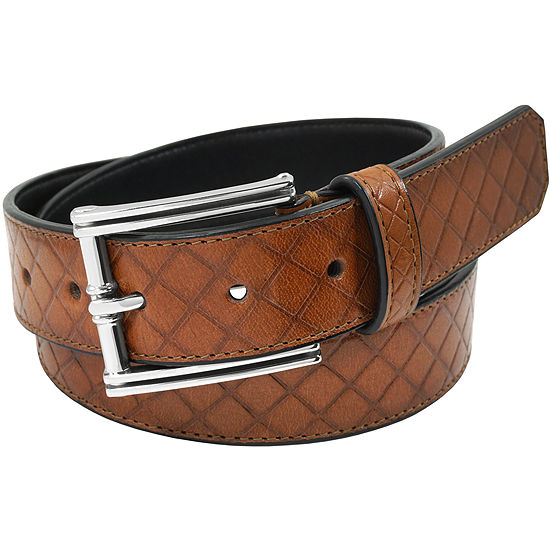 Stacy Adams® Diamond Patterend Single Keeper Belt