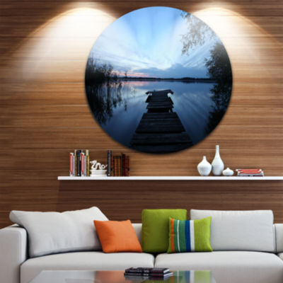 Designart Dark Wooden Pier in Lake Seascape CircleMetal Wall Art