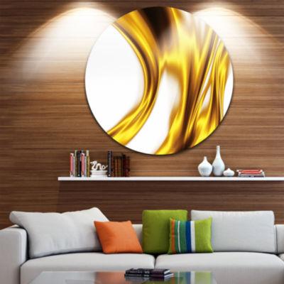 Designart Bright Gold Texture Pattern Abstract Circle Metal Wall Art