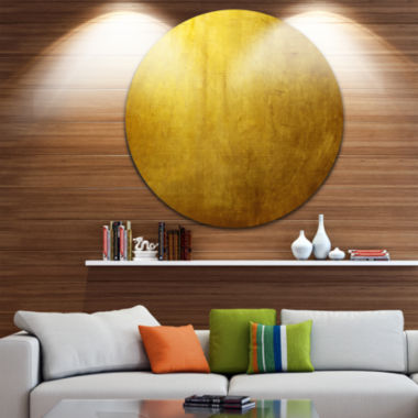 Designart Gold Texture Abstract Circle Metal WallArt