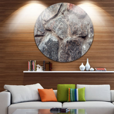 Designart Natural Granite Stone Texture LandscapePhotography Circle Metal Wall Art