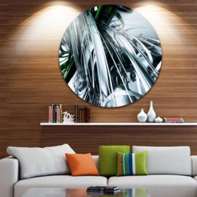 Designart 3D Abstract Art Green Black Abstract Circle Metal Wall Art