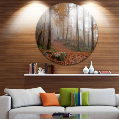 Designart Autumn Forest in Germany Landscape Photography Circle Metal Wall Art