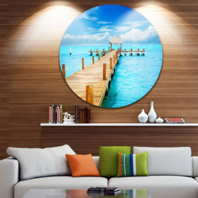 Designart Tropic Paradise Jetty in Mexico SeascapeCircle Metal Wall Art