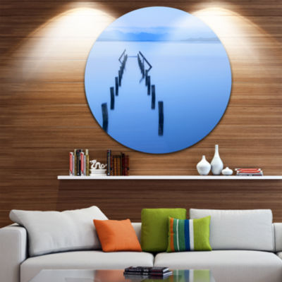 Designart Wood Walk Seascape Photography Circle Metal Wall Art