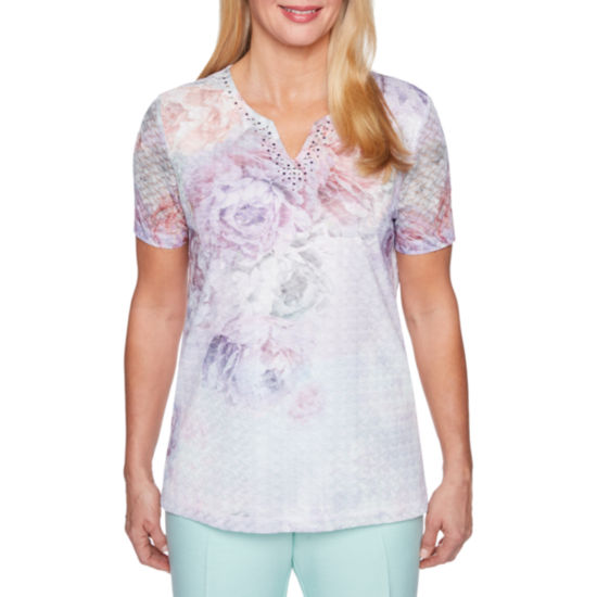 Alfred Dunner Roman Holiday Short Sleeve Split Crew Neck Floral T-Shirt-Womens
