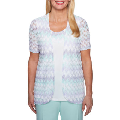 Alfred Dunner Roman Holiday Short Sleeve Crew Neck T-Shirt-Womens