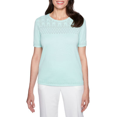 Alfred Dunner Roman Holiday 3/4 Sleeve Crew Neck Woven Blouse