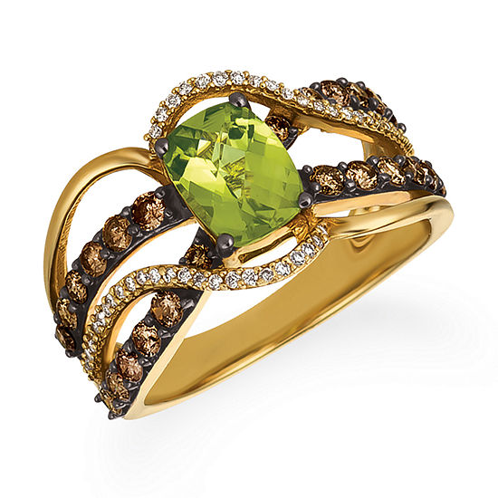 LIMITED QUANTITIES Le Vian Grand Sample Sale™ Ring featuring Green Apple Peridot™, Chocolate Diamonds®, Vanilla Diamonds® set in 14K Honey Gold™