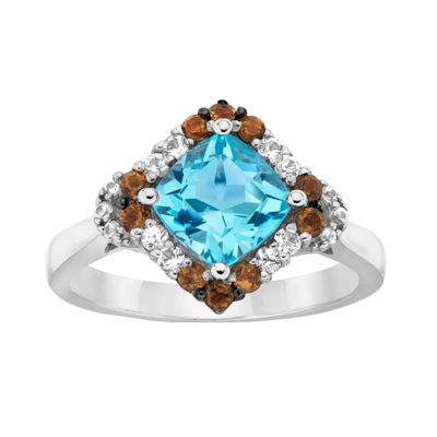 LIMITED QUANTITIES Le Vian Grand Sample Sale™ Ring featuring Sea Blue Aquamarine®, Chocolate Quartz®, White Sapphire, set in 14K Vanilla Gold®