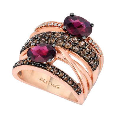 LIMITED QUANTITIES Le Vian Grand Sample Sale™ Ring featuring Raspberry Rhodolite®, Chocolate Quartz®, Vanilla Diamonds® set in 14K Strawberry Gold®
