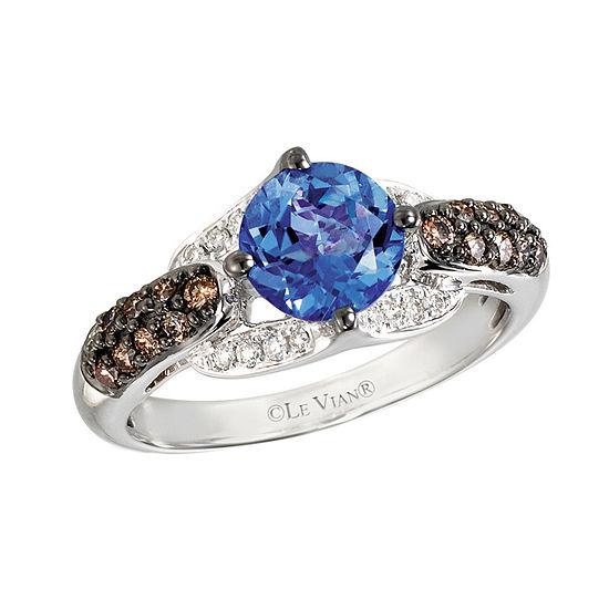 LIMITED QUANTITIES Le Vian Grand Sample Sale™ Ring featuring Blueberry Tanzanite®, Chocolate Diamonds®, Vanilla Diamonds® set in 14K Vanilla Gold®