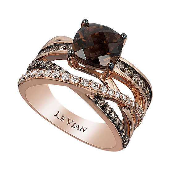 LIMITED QUANTITIES Le Vian Grand Sample Sale™ Ring featuring Chocolate Quartz®, Chocolate Diamonds®, Vanilla Diamonds® set in 14K Strawberry Gold®