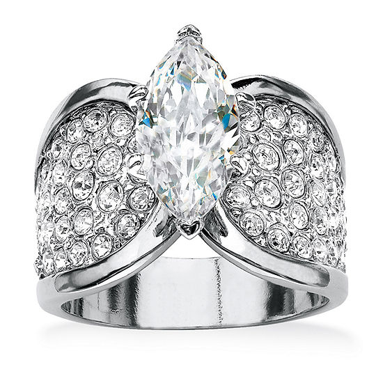Womens 2 1/2 CT. T.W. White Cubic Zirconia Platinum Over Silver Engagement Ring