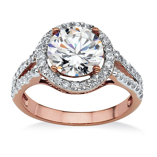 Womens 3 CT. T.W. White Cubic Zirconia 14k Rose Gold Over Brass Engagement Ring