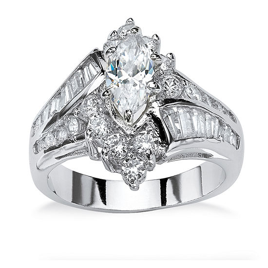 Diamonart Womens 3 1/4 CT. T.W. White Cubic Zirconia Platinum Over Silver Engagement Ring