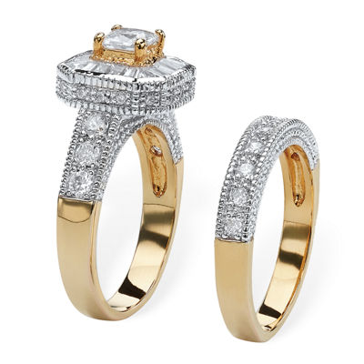 Diamonart Womens 2 1/3 CT. T.W. White Cubic Zirconia 14K Gold Over Brass Bridal Set