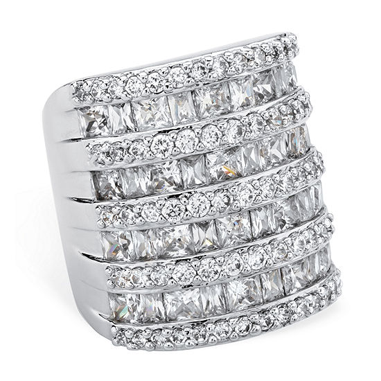Womens White Cubic Zirconia Cocktail Ring