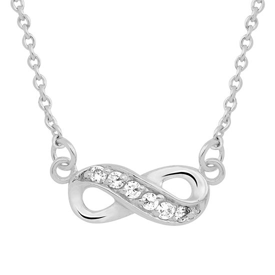 Itsy Bitsy Cubic Zirconia Sterling Silver 16 Inch Cable Infinity Pendant Necklace
