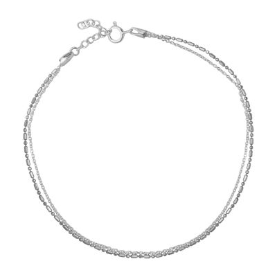 Itsy Bitsy Double Strand Sterling Silver 9 Inch Semisolid Cable Ankle Bracelet