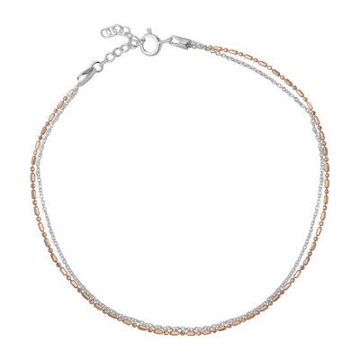 Itsy Bitsy 14K Rose Gold Over Silver 9 Inch Semisolid Cable Ankle Bracelet