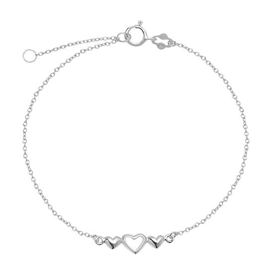 Itsy Bitsy Center Open Hrt Sterling Silver 9 Inch Semisolid Cable Ankle Bracelet