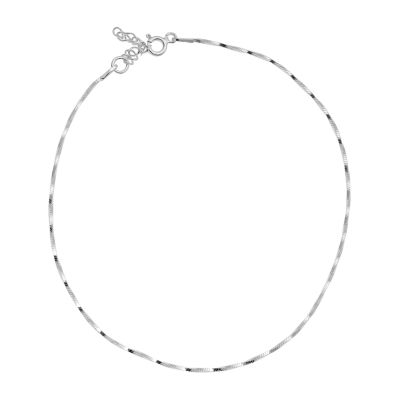 Itsy Bitsy Magic Twist Chain Sterling Silver 9 Inch Semisolid Ankle Bracelet