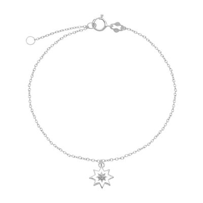 Itsy Bitsy Sterling Silver 9 Inch Semisolid Cable Star Ankle Bracelet