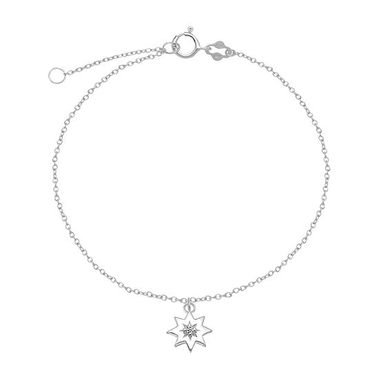 Itsy Bitsy Cubic Zirconia Sterling Silver 9 Inch Cable Star Ankle Bracelet