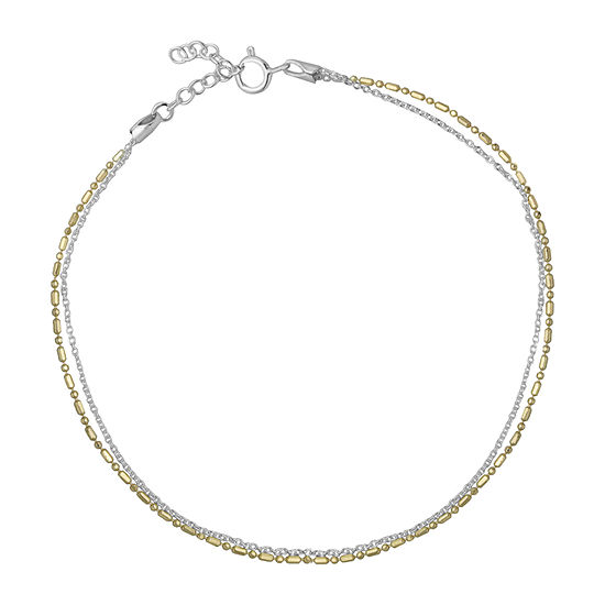 Itsy Bitsy Yellow And Silver Double Strand Chain 14K Two Tone Gold Over Silver 9 Inch Semisolid Cable Ankle Bracelet