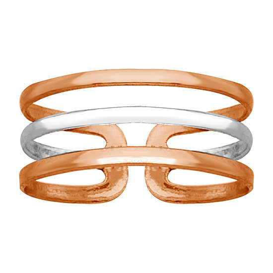 Itsy Bitsy Triple Line Toe Ring 14K Rose Gold Over Silver Toe Ring