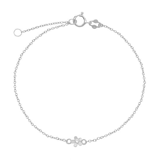 Itsy Bitsy Cubic Zirconia Sterling Silver 9 Inch Cable Flower Ankle Bracelet