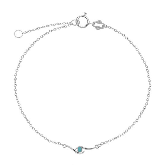 Itsy Bitsy Aqua Crystal Bead On Chain Crystal 9 Inch Cable Ankle Bracelet