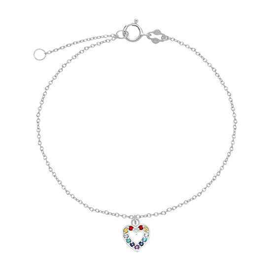 Itsy Bitsy Sterling Silver 9 Inch Semisolid Cable Heart Ankle Bracelet