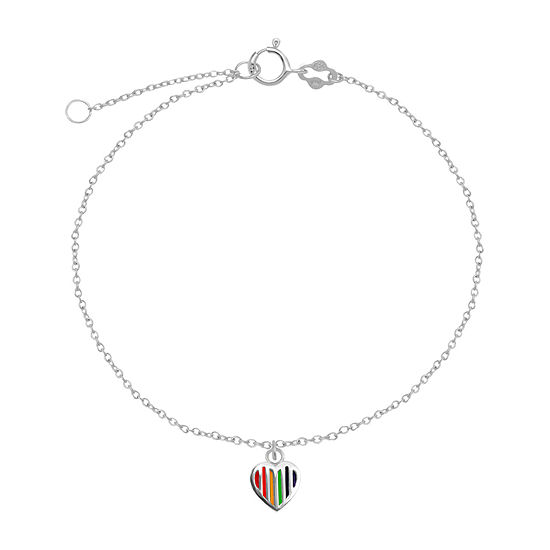 Itsy Bitsy Rainbow Enamel Heart On Chain 9 Inch Semisolid Cable Heart Ankle Bracelet