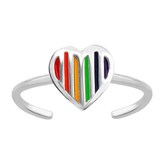 Itsy Bitsy Rainbow Enamel Heart Sterling Silver Toe Ring