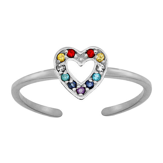 Itsy Bitsy Multi Color Cubic Zirconia Sterling Silver Toe Ring