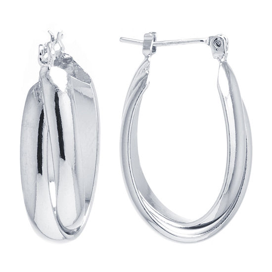 Silver Reflections Pure Silver Over Brass 27mm Oval Hoop Earrings