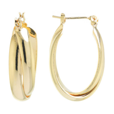 Silver Reflections 24K Gold Over Brass 27mm Oval Hoop Earrings