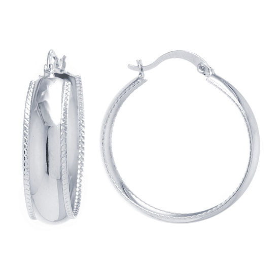 Silver Reflections Pure Silver Over Brass Round Hoop Earrings