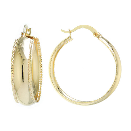 Silver Reflections 24K Gold Over Brass Round Hoop Earrings