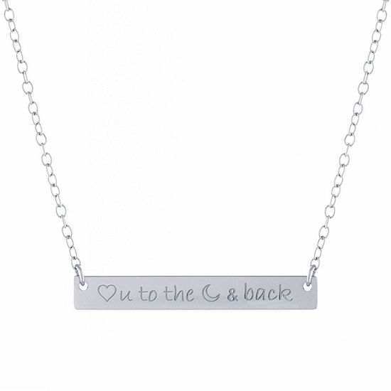 Silver Treasures Love You To The Moon And Back Womens Sterling Silver Pendant Necklace