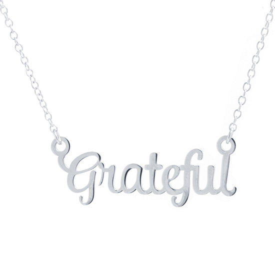 Silver Treasures Grateful Womens Sterling Silver Pendant Necklace