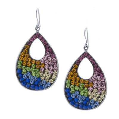 Sparkle Allure Multi Color Crystal Pure Silver Over Brass Round Drop Earrings