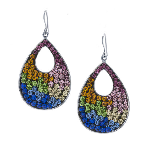 Sparkle Allure 1 Pair Multi Color Crystal Pure Silver Over Brass Round Drop Earrings