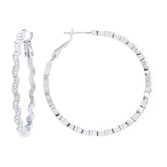 Sparkle Allure 1 Pair Crystal Pure Silver Over Brass Round Hoop Earrings