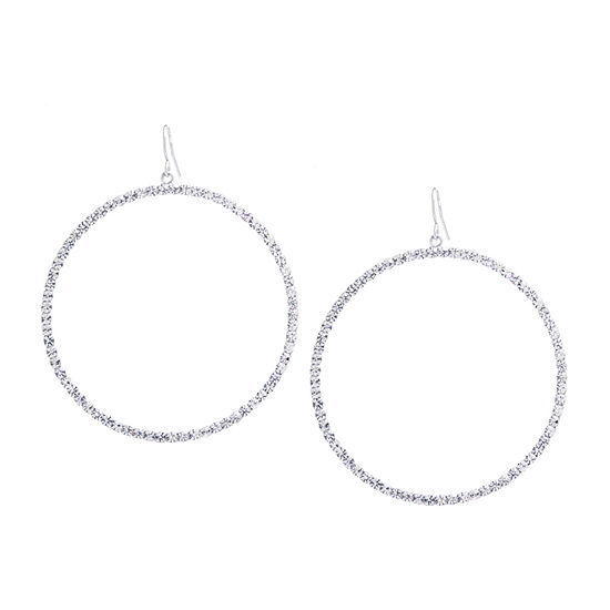 Sparkle Allure 1 Pair Crystal Pure Silver Over Brass Round Drop Earrings