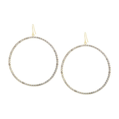 Sparkle Allure Crystal 14K Gold Over Brass Round Drop Earrings