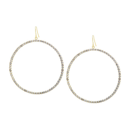 Sparkle Allure 1 Pair Crystal 14K Gold Over Brass Round Drop Earrings