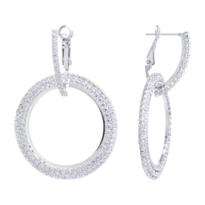 Sparkle Allure Crystal Pure Silver Over Brass Round Drop Earrings